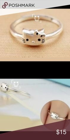 PRICE DROP! CC! Silver Hello Kitty Ring 925 Sterling Silver Hello Kitty Adjustable Ring NEW. Size 7. Bundle & Save On Shipping. Jewelry Rings