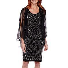 jcpenney.com | Blue Sage Beaded Shift Sheer Jacket Dress