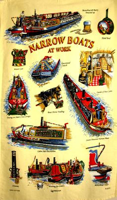 Narrow Boats at Work Tea Towel  Vintage Bargee by FunkyKoala