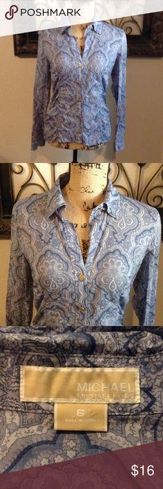 "Michael Kors button down shirt sz 6 Has pretty gold buttons.  Bust 38"".  & length 22"".  Bundle 3 & save! KORS Michael Kors Tops Button Down Shirts"