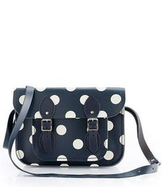JCREW Navy Polka Dot Satchel Handbag ♥ L.O.V.E.