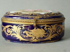 Antique French Porcelain Sevres Jewelry Box.