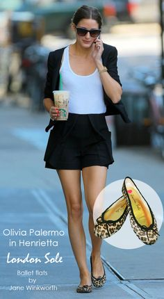 "The always chic Olivia Palermo spotted wearing her beloved Henrietta leopard London Sole ballet flats. Read all about Olivia's love for ""Henrietta, Heidi, Gabi and Harriet..."" at http://www.oliviapalermo.com/you-had-me-at-french/ Cheers! xx"