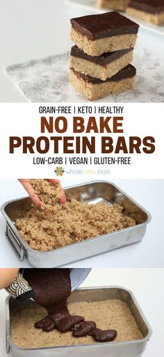 These Homemade Protein Bars are sugar, soy, grain, dairy, and egg-free, but loaded with yumminess! Stop spending a fortune on store-bought bars and make your own :)! #keto #lowcarb #glutenfree via @wholenewmom