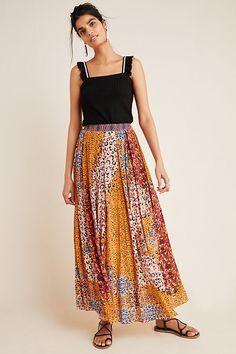 Anthropologie Women's Bhanuni Leopard Print Pleated Satin Maxi Skirt – Luxe Fashion Finds Gothic Fashion, Fashion Art, Steampunk Fashion, Emo Fashion, Autumn Fashion, Satin Blouses, Girls Shopping, Midi Skirt, Pleated Skirts