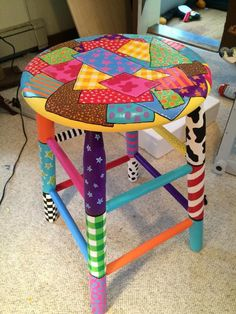 For All Your Home Decorative Furniture Ideas Art Furniture, Funky Furniture, Colorful Furniture, Repurposed Furniture, Furniture Projects, Furniture Makeover, Hand Painted Chairs, Whimsical Painted Furniture, Painted Stools