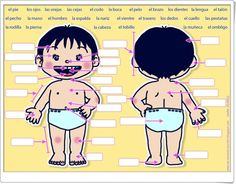 I know the baby is a bit creepy, but this a good diagram for learning body parts. Preschool Spanish, Learning Spanish For Kids, Spanish Activities, Teaching Spanish, High School Spanish, Elementary Spanish, Spanish Teacher, Bilingual Classroom, Bilingual Education