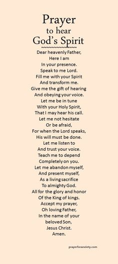 to hear God's Spirit Are you in tune with God's Spirit? Ask for the gift of hearing and obeying the voice of the Lord.Are you in tune with God's Spirit? Ask for the gift of hearing and obeying the voice of the Lord. Prayer Scriptures, Bible Prayers, Faith Prayer, Prayer Quotes, My Prayer, Spiritual Quotes, Bible Quotes, Prayer Room, Prayer Closet