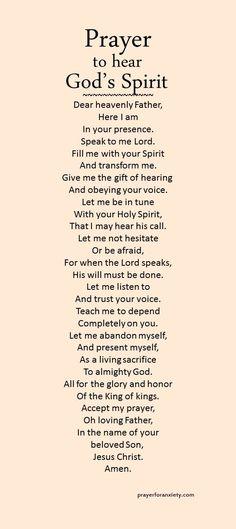 Prayer to hear God's Spirit