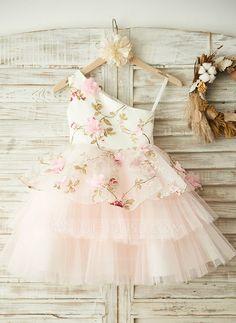 [US$ 69.99] A-Line/Princess Knee-length Flower Girl Dress - Tulle Sleeveless One-Shoulder With Flower(s)