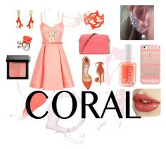 """Coral beauty"" by keziasilitonga on Polyvore featuring Jimmy Choo, Oscar de la Renta, MICHAEL Michael Kors, Essie, Burberry, Casetify, Full Tilt, Mawi, Bobbi Brown Cosmetics and women's clothing"