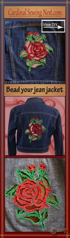 Cut out and bead your jean jacket Step by step tutorial