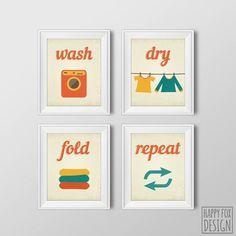 Wash Dry Fold Repeat, Four 8x10 Printable Digital files, Retro, Laundry printable, Laundry room decor, Home Decor, Wall art, Illustration - $15