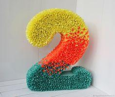 Купить Объемная цифра 2 на День Рождения - комбинированный, цифра, цифра 2