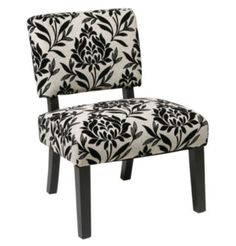 Traditional Accent Chair In Paradise Black & White Fabric Living Room Furniture