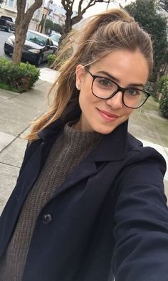 Casual - minimal makeup, messy pony and glasses. Nice for a long day of classes!//