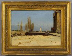 """Breton Harbor, Larmor"" Dennis Miller Bunker, 1884, oil on canvas, 12 3/4 x 18 3/4"", private collection."