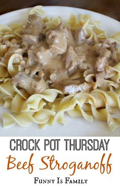 Crock Pot Beef Stroganoff Beef Stroganoff  Ingredients 1 lb beef stew meat, cut into small cubes 2 cans condensed golden mushroom soup 1/2 packet onion soup mix 1/2 cup onion, chopped 1 tbsp Worcestershire sauce 1/2 tsp salt 1/2 tsp pepper 1/2 tsp garlic powder 1/4 cup water 4 ounces cream cheese 1/4 cup sour cream