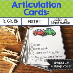 FREE Articulation Cards: R Great activities for speech therapy