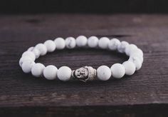 Howlite white beaded Buddha stretchy bracelet by GAALcollection