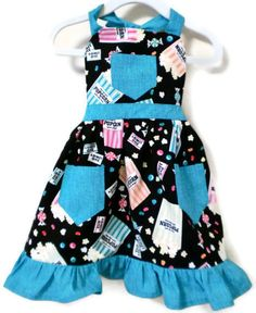 Girl's Popcorn Apron with Ruffled Hem Sizes by KelleenKreations, $20.00