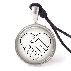 vietguild Hand Shake Necklace Pendants Pewter Silver