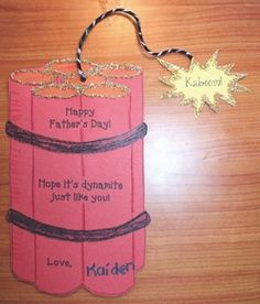 """""""Hope your Father's Day is dynamite just like you!"""" Older students can complete the writing prompt on the back. Fathers Day Crafts, Happy Fathers Day, Toddler Crafts, Crafts For Kids, Father's Day Activities, Gifted Kids, You Are The Father, Writing Prompts, Craft Gifts"""