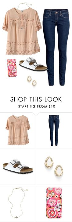"""Meeting up with some old friends"" by ambermillard ❤ liked on Polyvore featuring J.Crew, H&M, Birkenstock, Kate Spade, Kendra Scott and Vera Bradley"