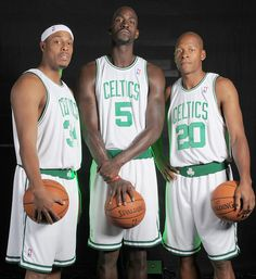 Paul Pierce, Kevin Garnett and Ray Allen 2008...  NBA sucks now with all the changes oh well money is money I guess.