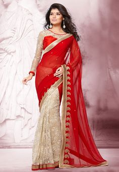 Red and Off White Faux Chiffon and Net Jacquard Saree with Blouse: SNUA43