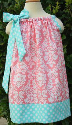 Girls Petal Damask and  Ocean Polka Dot Pillowcase Dress Size 0-12 mths- size 6 available. via Etsy