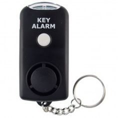 Key Alert with Flashlight - This alarm is small enough to easily fit in the palm of your hand and can conveniently attach to your key chain so it will be readily available in case of an emergency. The alarm button allows for two levels of protection. Pressing the button slightly will sound a brief alarm blast. Pushing the button down completely will sound the alarm continually until the situation is safe and you deactivate the alarm.