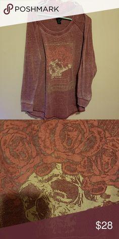 TORRID Sweatshirt Size 0 SKULL& Roses Pinky Red . TORRID Sweatshirt Size 0 SKULL.& Roses Pink & Rose. SUPER COMFORTABLE!! 😁👍 torrid Tops Sweatshirts & Hoodies