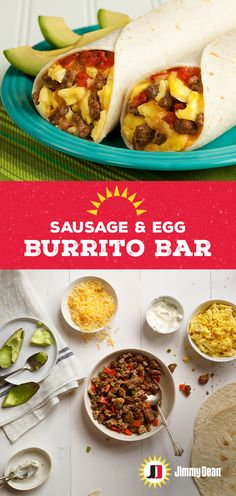 Let your friends and family serve up their version of a perfect breakfast burrito with this Jimmy Dean Premium Pork Sausage and Egg Burrito Bar construct. Fresh Sausage, avocado, peppers and cheese will have them doubling back. Pro tip: Warm your tortilla Burrito Bar, Egg Burrito, Breakfast Dishes, Breakfast Recipes, Breakfast Ideas, Vegetarian Breakfast, Sausage Breakfast, Morning Breakfast, Brunch Ideas