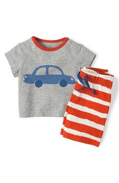 Mini Boden 'Vehicle' Graphic T-Shirt & Stripe Pants (Baby Boys) available at #Nordstrom
