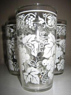Vintage Hazel Atlas White Grape Vine Swanky Swig 5 Tumbler Glasses 1950's EUC++