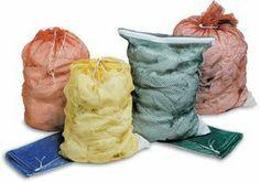 Medline Washable Mesh Laundry Bags, White (Pack of