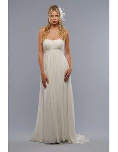 Elegant Strapless Floor Length Pleated Chiffon Maternity Wedding Dresses/ Inexpensive Ivory Bridal Gowns with Beaded