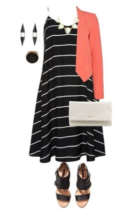 love cut and stripes on the dress - perfect with the coral cardigan. Take it off and you have an edgy outfit