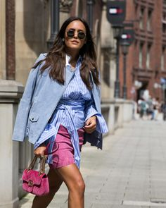 Blue suede leather Jacket, striped Blouse and Gucci Marmont Bag. Shop my Look on: designdschungel.com