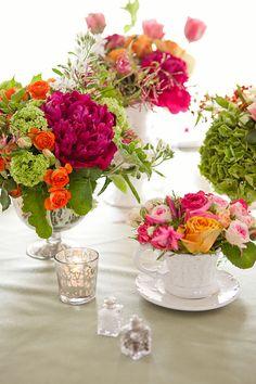 Peonies, Viburnum, Roses, Hydrangea, Geranium Leaves, Nerine lilies, Spray Roses, Stock