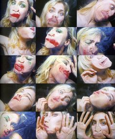 Be Nice To Me (Flatten 04) (2000) - Pipilotti Rist. (Rist has an over abundance of make-up on her face and continues to smash and rub her face into a glass window, smearing the makeup and distorting her face, she explores feminity and the stereotypical image of a woman).