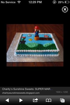 I could probably do something like this... buy little figurines, and just use icing and stuff for the grass, blocks, goombas, etc.