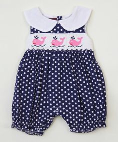 Look at this #zulilyfind! Navy Whale Smocked Romper - Infant & Toddler by Lil Cactus #zulilyfinds