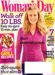 WOMAN'S DAY MAGAZINE JUNE 2014 ALISON SWEENEY GRILL RECIPES SWIMSUITS THAT SLIM
