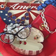"""""""God Bless America"""" Bundle  Charity! Just in time for July 4th.  . Bundle includes all new as seen in picture.  BLING Crystal Glasses with Case.  Beautiful Red Wallet.  Blue Statement necklace with Red Earrings.  Bling Headband and Patriotic Ring.  Great gift for that Special Day! Accessories"""