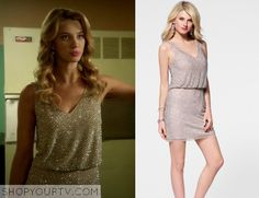 Petra Solano (Yael Grobglas) wears this gold sequinned dress with waist in this week's episode of Jane the Virgin.