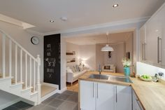 Basement conversion, underpinning, chalk board, kitchen, lounge, oak worktop