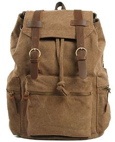 Am Landen Rucksack Canvas Backpack Leather Straps School Bag Travel Ship From Us Khaki
