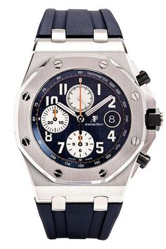 """Audemars Piguet Royal Oak Offshore Chronograph """"Navy"""" Watch - 26470ST.OO.A027CA.01. New model for 2014. Stainless steel case (42mm diameter, 14.5mm thick), octagon-shaped stainless steel bezel, black ceramic screw-down crown/push-pieces, blue rubber strap with steel folding clasp, blue/white dial with luminescent Arabic numerals and hands, chronograph function, date calendar, 59 jewel AP caliber 3126/3840 self-winding movement with 55 hour power reserve, water-resistant to 100 meters."""